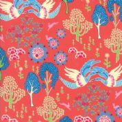 Manderley by Franny and Jane - 5038 - Sky Blue Cranes on Coral - 47502 17 - Cotton Fabric